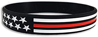 Thin RED LINE American Flag Silicone Wristband