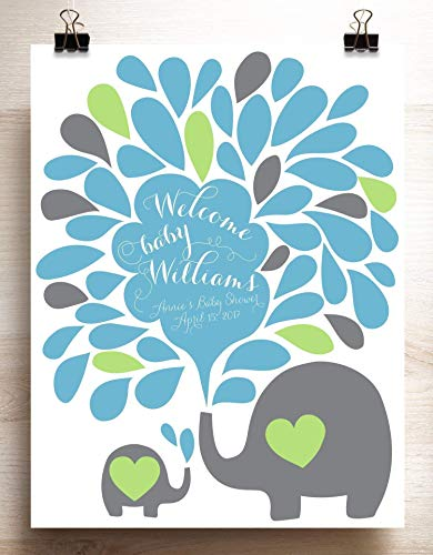 Baby Shower Guest Book Alternative Boy Baby Elephant Spraying Water Drops Custom Signing Poster Gender Reveal Adoption Party