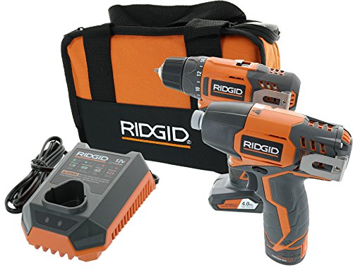 Ridgid R9000K 12V Hyper Lithium-Ion Drill / Driver Combo Kit (Includes: 1 x R82005 Drill, 1 x R82230 Impact Driver, 1 x AC82049 2AH Battery, 1 x AC82059 4AH Battery, 1 x R86049 Charger)