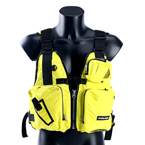 Amarine Made Boat Buoyancy Aid Sailing Kayak Fishing Life Jacket Vest - D13, Color in: Black, Yellow, Red (Yellow)