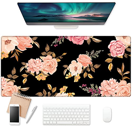 EkuaBot Pink Flower Large Gaming Mouse Pad (35.4×15.7 in, 3mm Thick), Non-Slip Rubber Base and Reinforced Lock Edges, XXL Extended Mousepad for Work, Game, Desktop Decoration