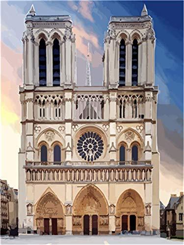YEESAM ART Papelería Catedral Notre Dame de Paris, pintura por números, 40,6 x 50,8 cm, kit de pintura para decoración de pared del hogar (catedral, enmarcada)