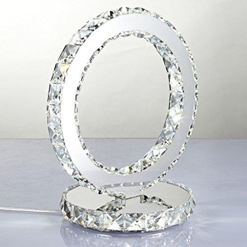 Kreative Edelstahl Kristall Tischlampe moderne Art Nachttischlampe einfaches Schlafzimmer trendy Kristall LED Kristall Lampe doppelseitig (weiß)