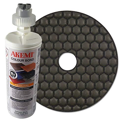 AKEMI combiset: AKEMI Colour Bond 2K-epoxyacrylaatlijm, zwart, 250 ml + diamant slijppad 125 mm, korrel polijstmachine, voor droog slijpen