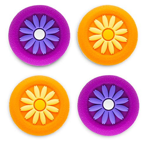 Playrealm Soft Rubber Silicone 3D Texture Thumb Grip Cover x 4 for PS5, PS4, Xbox Series X/S, Xbox One, Switch PRO Controller(Daisy Orange Purple Pack)