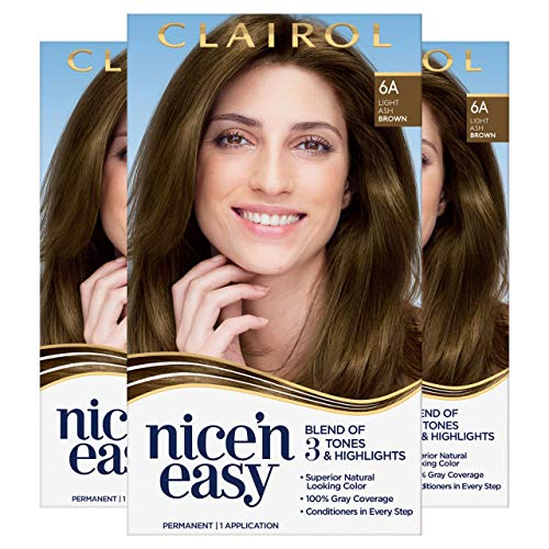 Clairol Nice'N Easy Crème 6A Light Ash Brown (Pack of 3) (Packaging May Vary)