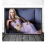 ZJYWYCN Poster Schwarz Weiß Lady Gaga Popmusik Sänger