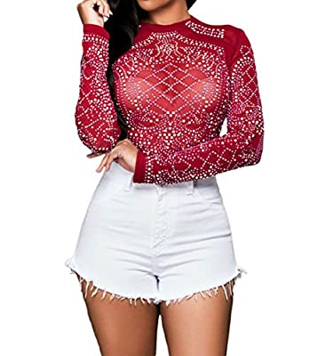 MAYFASEY Women's Sheer Mesh Long Sleeve Bodycon Studded T Shirt See Through Tops Blouse