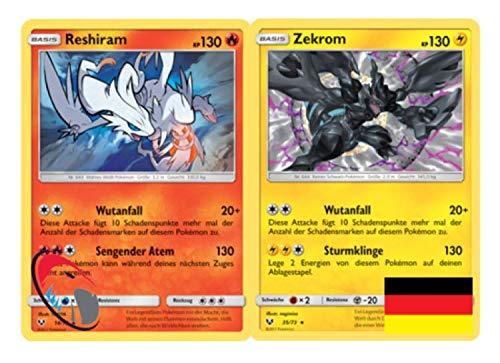 Rehiram & Zekrom Set Pokémon Schimmernde Legenden 14/73 + 35/73 Sammelkarte - Deutsch - Cardicuno