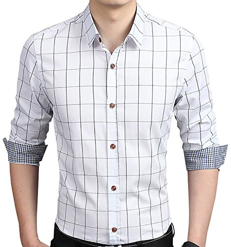 YTD Men's 100% Cotton Long Sleeve Plaid Slim Fit Button Down Dress Shirt US XL White