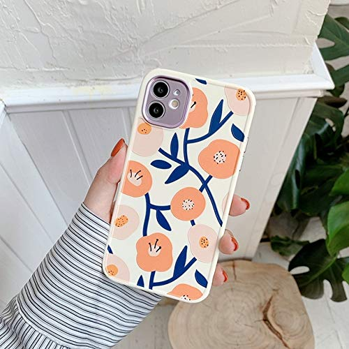 VHR Fundas Cute Love Heart Flower Leaf Phone Case para iPhone 12 11 Pro MAX 12 Mini 8 7 Plus X XS MAX XR Marble Wartercolor Painting Cover para iPhone 11 T3
