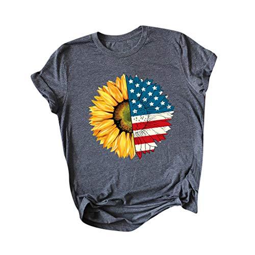 Great Price! HHoo88 Women Fashion O-Neck Baseball Flag Shirt Short Sleeve T-Shirt Graphic Blouse Tee...