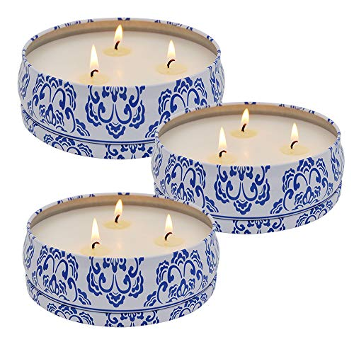 Large Citronella Candles Outdoor Indoor, 3 Pack 13.5oz Soy Wax Candle, 3-Wick Travel Tin Candle for Summer Gift