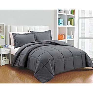 Chezmoi Collection 3-piece Down Alternative Comforter Set with Shams (King, Gray)