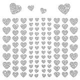 Oblique Unique® - 106 Herz Aufkleber mit Glitzer Effekt in Silber I Herzen Sticker I Scrapbooking Dekoration Liebe Kinder Geburtstag
