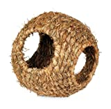 Prevue Hendryx 1095 Nature's Hideaway Grass Ball Toy, Large, Black, 9