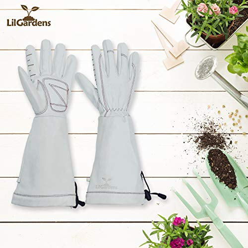 Leather Gardening Gloves for Women and Men | LilGardens | Thorn Proof | Rose Pruning | Long Gauntlet | True Puncture Resistant| Padded Palms | Perfect Present | Medium