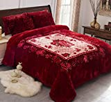 JML Fleece Blanket, Plush Blanket King Size 85' x 93', 10 Pounds Heavy Korean Style Mink Blanket - Silky Soft and Warm, 2 Ply A&B Printed Raschel Bed Blanket, Red Rose