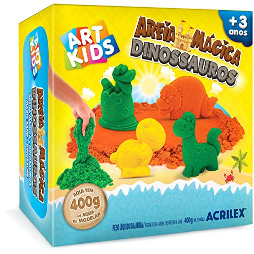 Brinquedo Kit Areia Mágica Dinossauros 400g Art Kids