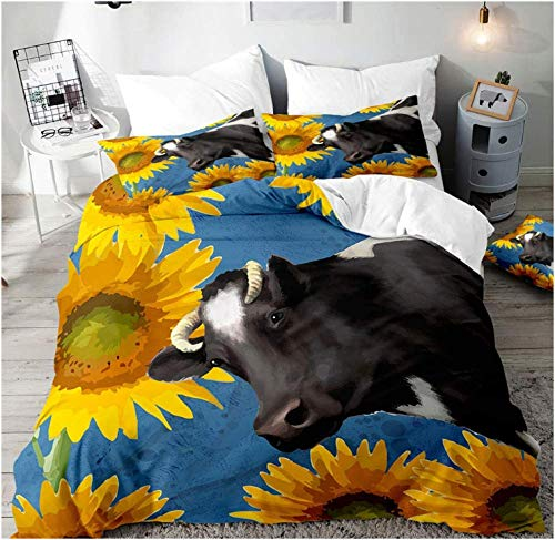 HANTAODG Set Copripiumino Matrimoniali Completo Mucca Nera del Girasole 240x220cm Bedding Set Copripiumino Made in Poliestere con Cerniera E 2 Pillowcase per Ragazzo Ragazza Adulto