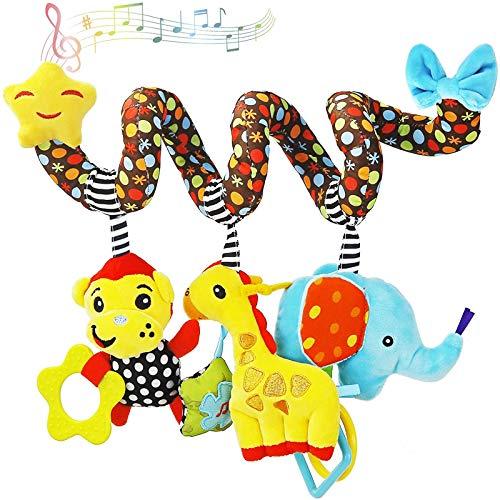 Tibroni Spirale da Passeggino, Giocattolo Passeggino da Appendere Bambino Spirale attività Giocattolo della Peluche per Culla Scimmia Elefante Giocattolo della Peluche
