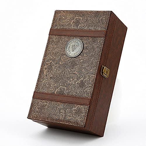 N \ B Caja de Vino de Cuero de Lujo de Doble Botella, Caja de envasado de Vino, Caja vacía con Utensilios de Vino, Tallado, Cuchillo de Caballos de mar, Vino, no Incluido Vino