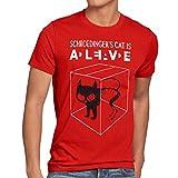 style3 Gato de Schrödinger Camiseta para Hombre T-Shirt Sheldon, Talla:XL;Color:Rojo