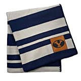 Pegasus Sports NCAA Acrylic Stripe Blanket with Faux Leather Logo Patch- BYU Cougars, Team Color, 60x70