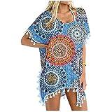 Traje de baño para mujer, diseño de kaftán, muselina y seda casual azul M