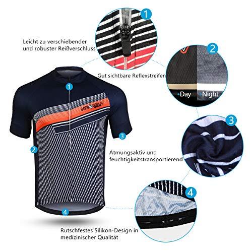NEENCA Herren Radtrikot Fahrradtrikot Kurzarm Sport T- Shirt Schnelltrockendes Atmungsaktives Elastisches Radshirts mit DREI Rückentaschen und Reißverschluss aus Polyester - 4