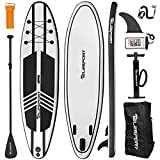TELESPORT Paddle Boards 11' x 33'x6' Inflatable Stand Up Paddleboard for Adult, Blow Up SUP Board, 350lbs Weight Capacity with Full Accessories (Black&White, 33' Wide)