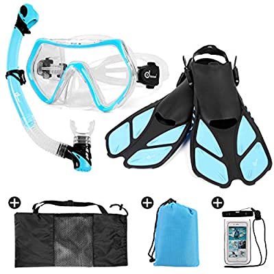 Odoland Snorkel Set 6-in-1 Snorkeling Packages with Diving Mask, Adjustable Swim Fins, Mesh Bag, Waterproof Case and Beach Blanket, Anti-Fog Anti-Leak Snorkeling Gear for Men Women Adult, Light Blue L