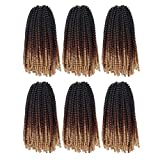6 Packs Spring Twist Crochet Hair 12 Inch Bomb Twist Fluffy Spring Crochet Braiding Hair Afro Curly Braids Synthetic Braids Hair Extensions 15 Strands/Pack (#1B/30/27)