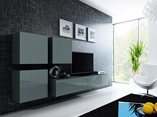 Jadella Wohnwand ' Vigo 23' Hochglanz Hängeschrank Lowboard Cube, Farbe:Grau