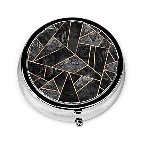 Caja de medicina redonda portátil mini píldoras de metal pequeño dispensador de píldoras para bolsillo bolso bolso regalo de viaje, piedra negra