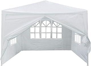 DorisAA camping tält enkel inställning 3 m x 3 m 4 sidoväggar skydd utomhus resor camping tält solskydd 3x3m Vitt