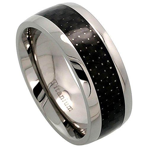 Revoni Titanium 8mm Wedding Band Ring Carbon Fiber Center Inlay Comfort-fit, Size Z+2