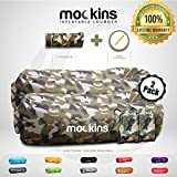 Mockins 2 Pack Camo Inflatable Lounger Air Sofa Perfect for Beach Chair Camping Chairs or Portable Hammock and Includes Travel Bag Pouch and Pockets | Easy to Use Camping Accessories