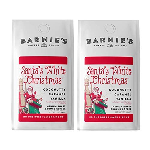 Barnie's Santa's White Christmas Ground Coffee with Coconut, Caramel, and Warm Vanilla Flavors, Medium Roasted Arabica Coffee Beans, 12 oz Bag (Pack of 2)
