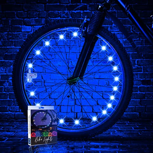 TINANA LED Bike Wheel Lights (1 Wheel Pack) Ultra Bright Waterproof Bicycle Spoke Lights Cycling Decoration Safety Warning Tire Strip Light for Kids Adults Night Riding(Blue)