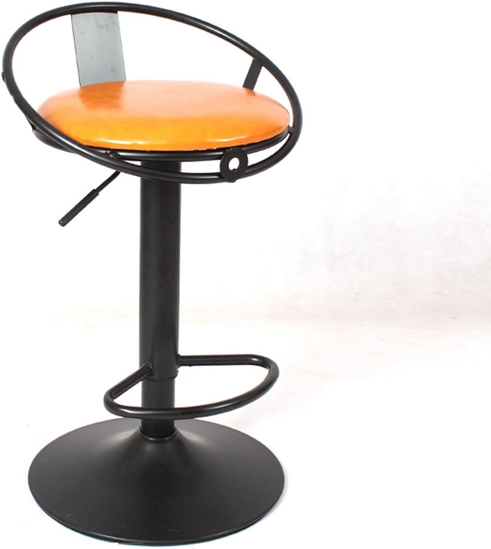 BO Wen Home- Chair Retro Iron Chair Swivel Bar Chair Armchair, Stool Restaurant Creative Home Dining Chair, Oil Wax Artificial Leather Cushion (color   Yellow)