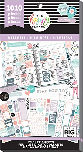 Me & My Big Ideas Happy Planner Sticker Value Pack-Wellness, 1010/Pkg, Multi