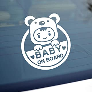 Reflective Baby on Board Sign for Car, Caution Decals Reflective Kids Safety Warning Sticker Marks for Driver, Heat Resistant, Long Lasting, Waterproof-White