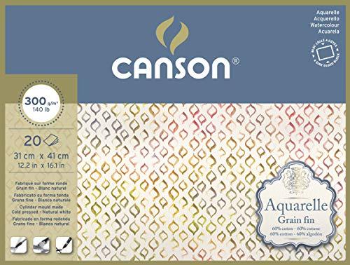 Canson Aquarelle - Bloc Encolado a 4 Lados, 31 x 41 cm, 20 Hojas, 60% Algodón, Grano Fino, 300 g