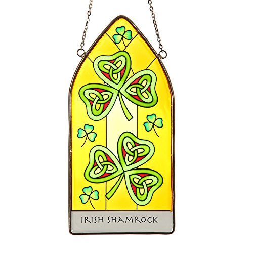 Eburya Irish Shamrock - Keltisches Fensterbild aus Buntglas mit irischem Kleeblatt
