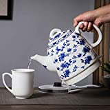 Ceramic Electric Kettle Retro Teapot, 1350W Boils Water Fast for Tea Coffee Soup Oatmeal, Auto Shut-Off & Boil-Dry Protection, Bpa-Free