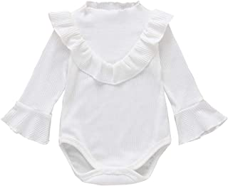 Baby Girls Ruffle Romper Newborn Girls Solid Long Sleeve Bodysuit Infant Baby Girls Cotton Onesies Outfits