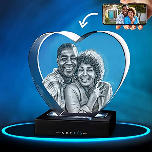 ArtPix 3D Crystal Photo, 3D Laser Etched Picture, Engraved Heart Crystal, Personalized Memorial Birthday Gifts for Mom, Dad, Him Her, Men, Women, Customized Anniversary Couples Gifts for Wife, Husband