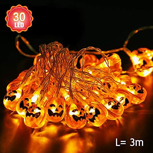 Norbase - Guirnalda de luces de calabaza para Halloween, 3 m, 30 luces LED de calabaza, luces de hadas, para interior, exterior, casa, fiesta, jardín