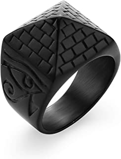 Valily Men's Pyramid Ring Stainless Steel/Gold/Black Anubis Pattern Horus Eyes Amulet Egyptian Jewelry Size 7-13